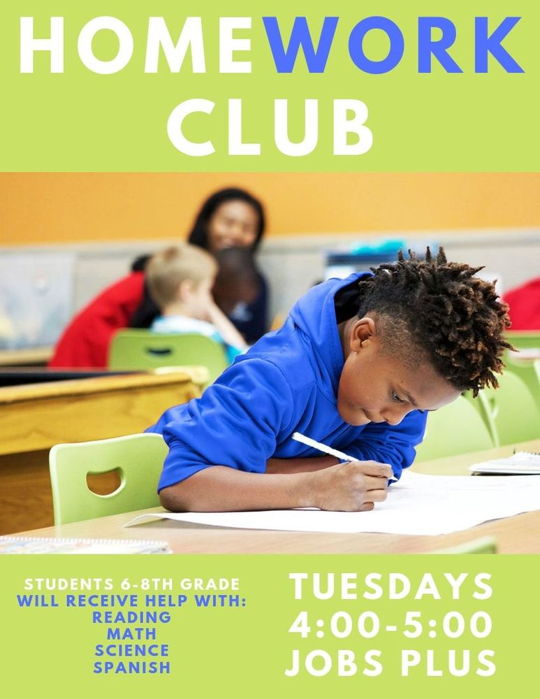 homework club tuesday 4pm at jobs plus