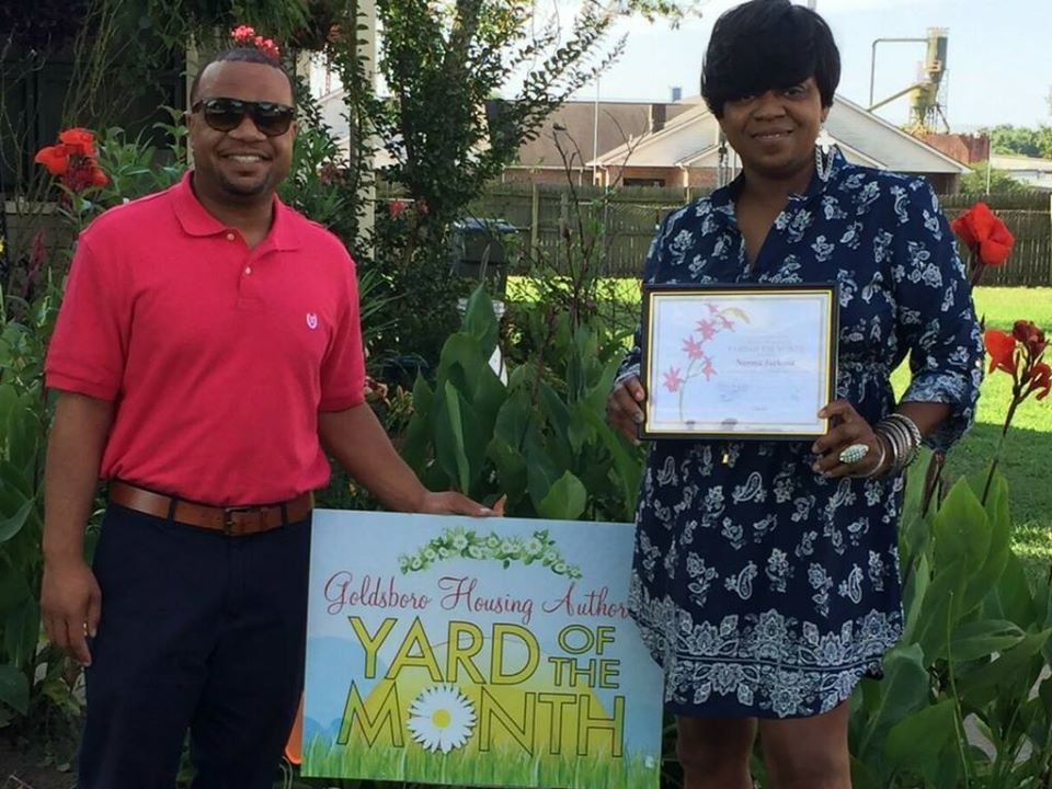 yard of the month recipient with ceo