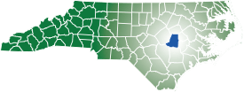 Map of North Carolina with Wayne County highlighted.